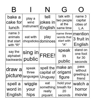 CAN YOU ....? Bingo Card