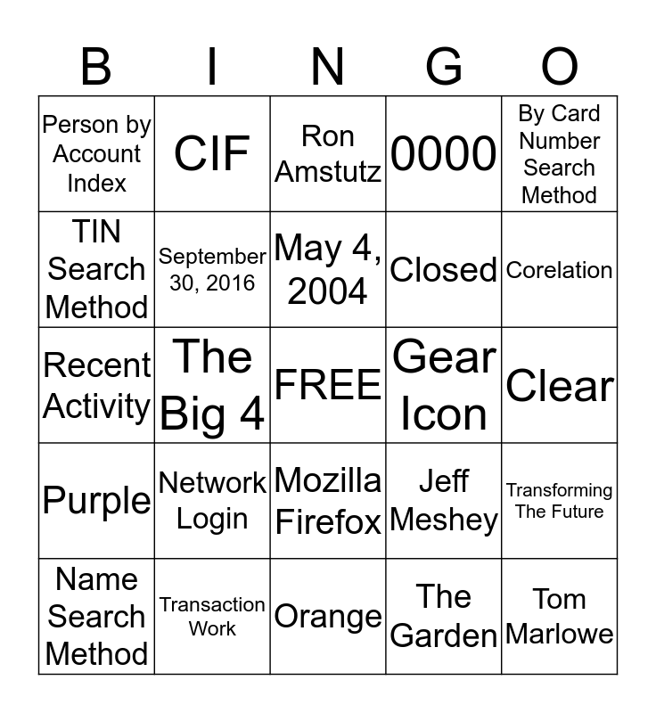 Blackout Bingo Card