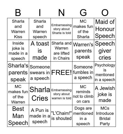 Sharla and Warren Bingo Card