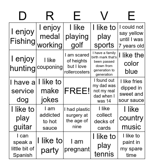 Dreve Blackout Bingo Card