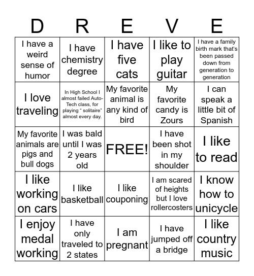 Dreve Blackout Bingo Card