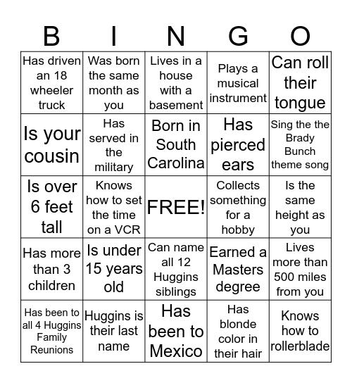 Huggins Family Reunion 2015 Bingo Card