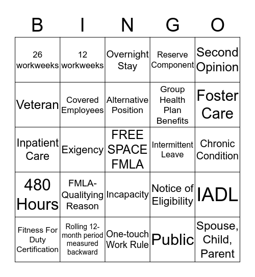 FMLA  Bingo Card