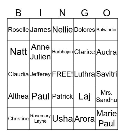 Members' JINGO! Bingo Card