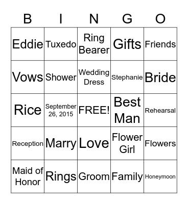 Wedding Bingo Card