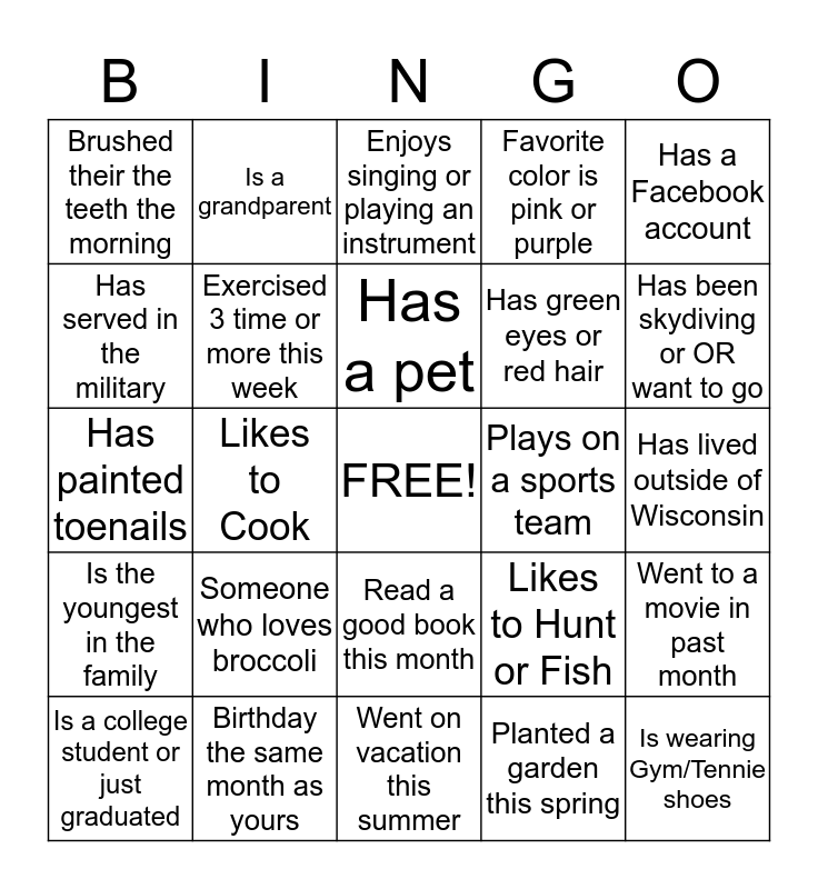 LETS GET TO KNOW EACH OTHER Bingo Card