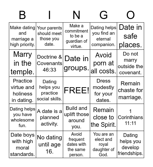 Dating  Bingo Card