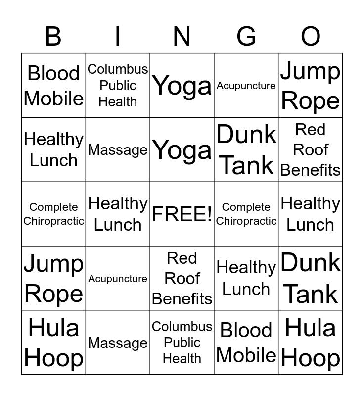 Health & Wellness Fair Bingo - Name________ Bingo Card