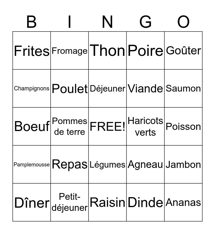 La nourriture - Food Bingo Card
