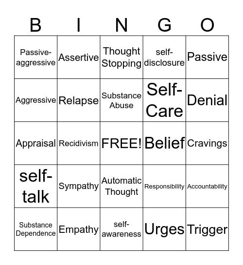 CBT Bingo Card