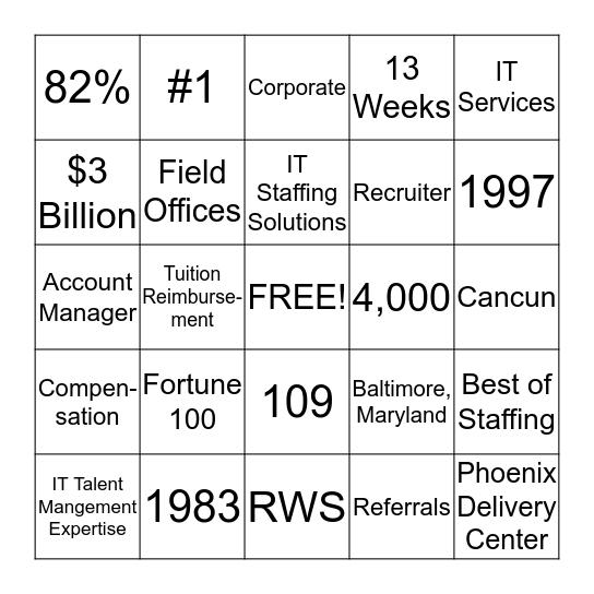 ASU Career Services Bingo Card