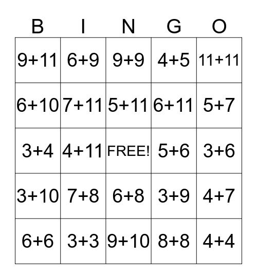 Hickman's Addition Bingo Card