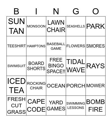 BEACH WEEK  Bingo Card