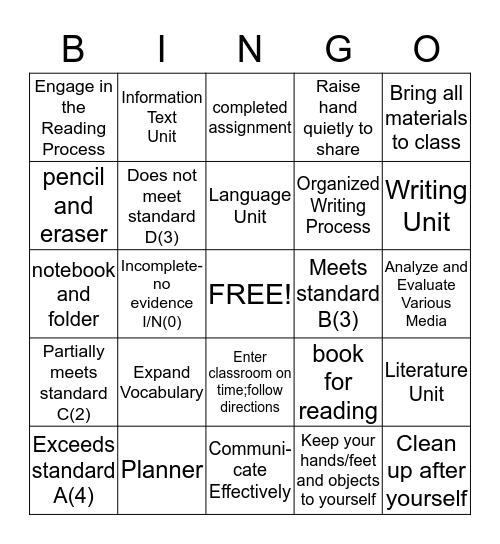 English/Language Arts Grade 6 Syllabus Bingo Card
