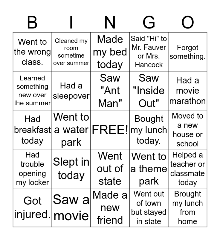 Music 6 - What I did over the Summer and today Bingo Card