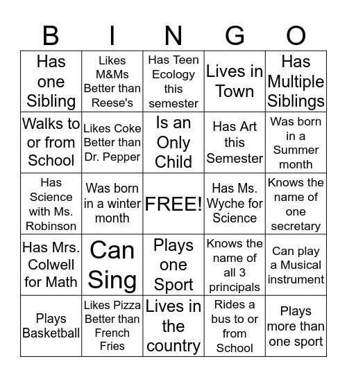 Getting to know my classmates Bingo Card