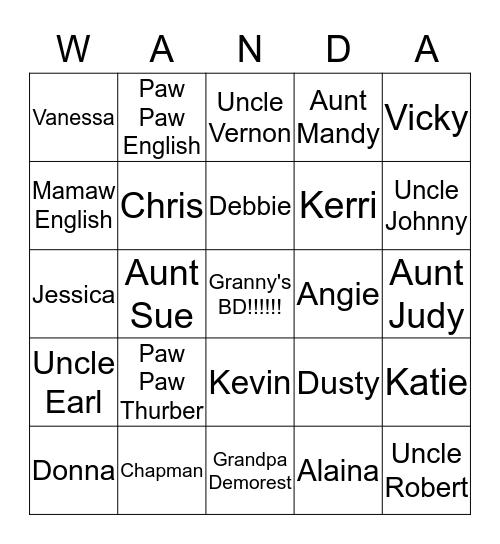 Wanda Bingo Card