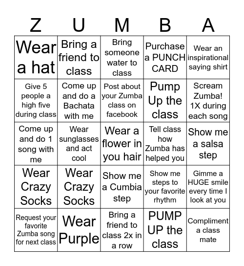 ZUMBA Bingo Card