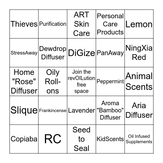 Young Living Essential Oils BINGO Card
