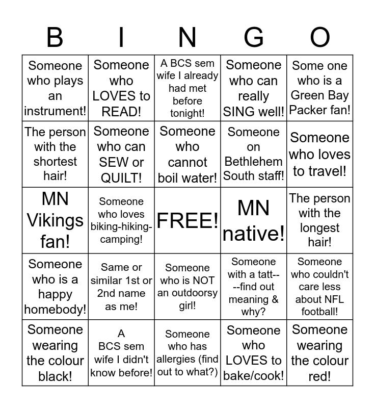 LADIES' NIGHT OUT, GETTING TO KNOW YOU BINGO CARD! Bingo Card