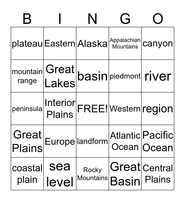 Landform Bingo  Bingo Card