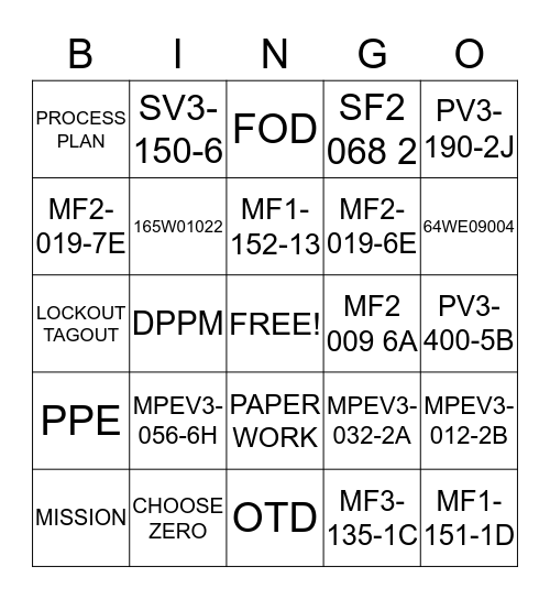 COMPANY BINGO Card