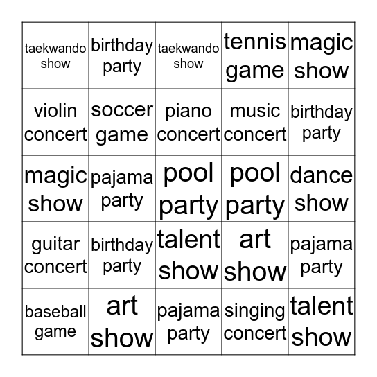 Can you come to my ... ? Bingo Card