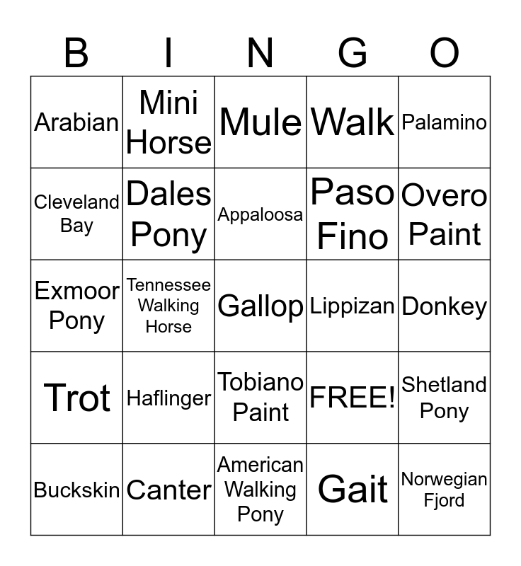 Horse Breeds Bingo Card