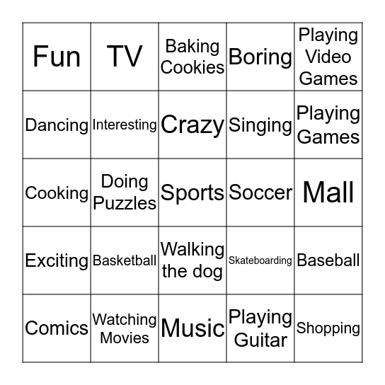 What are you crazy about? Bingo Card