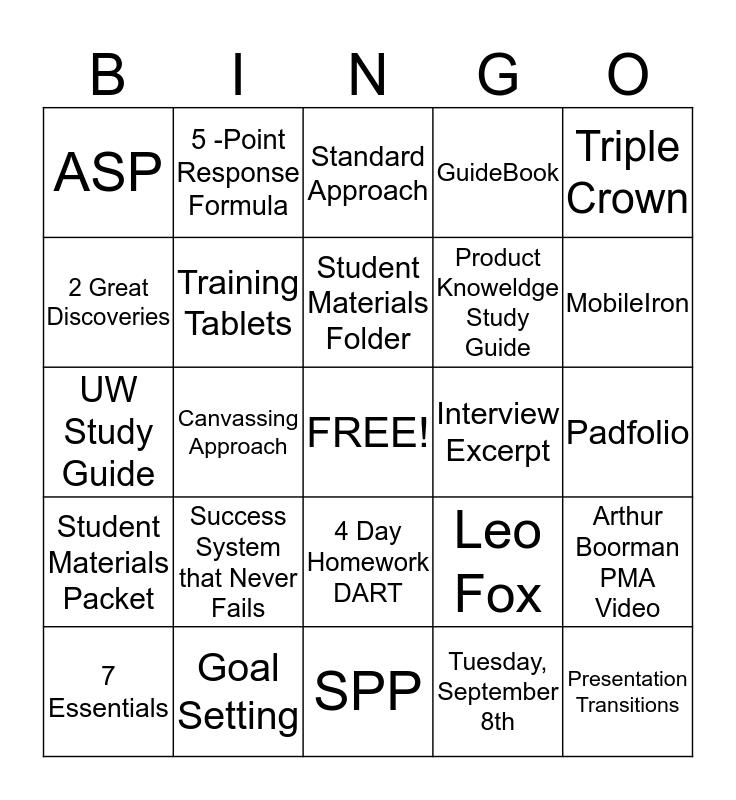 Student Materials Packet & MobileIron Homework Bingo Card