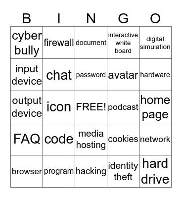 Computer stuffz Bingo Card