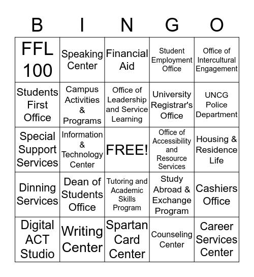 UNCG's Campus Connection Bingo Card