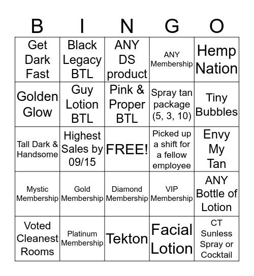 Celebrity Tanning BINGO September  Bingo Card