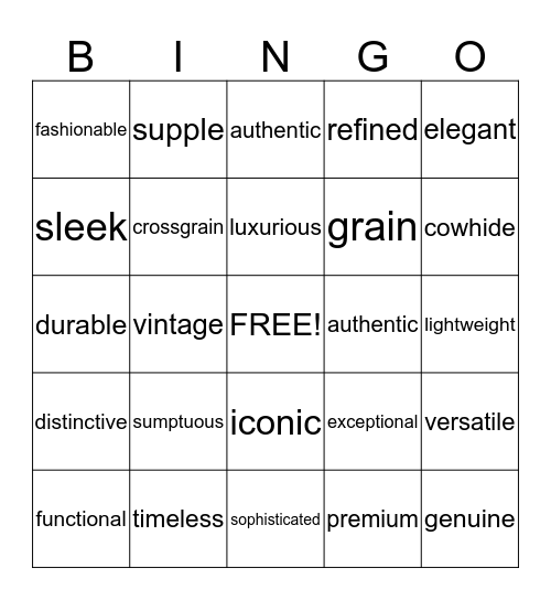 Moden Luxury Language -Black out-please enter date & ph# for each space Bingo Card