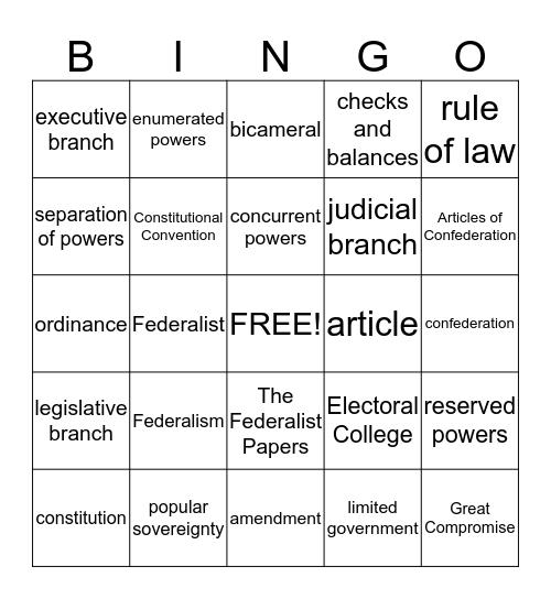 Constitution Chap. 3 Bingo Card
