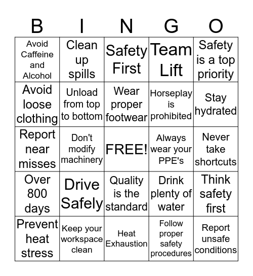 SAFE - T - WORDS Bingo Card
