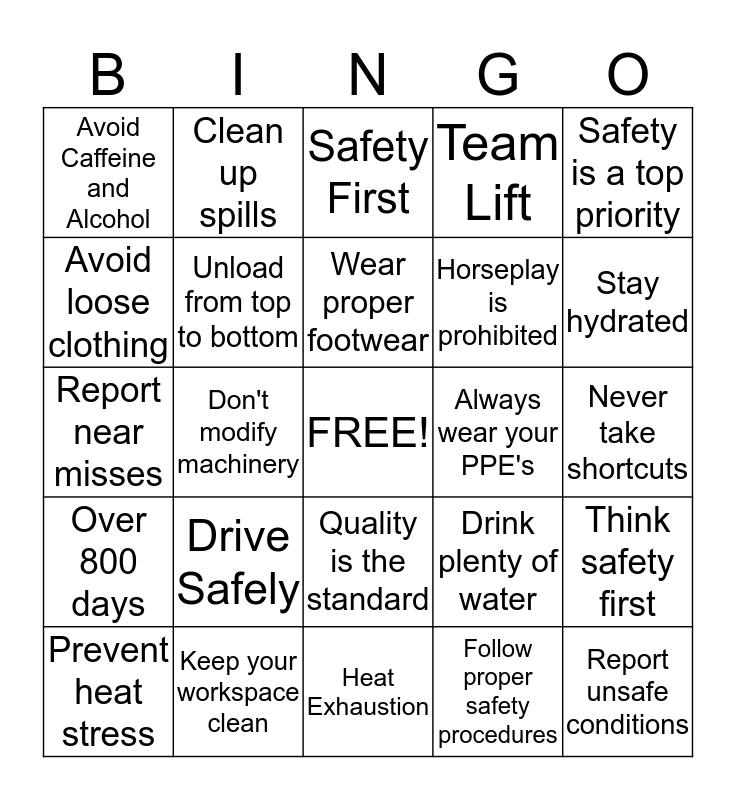 SAFE - T - WORDS Bingo Card