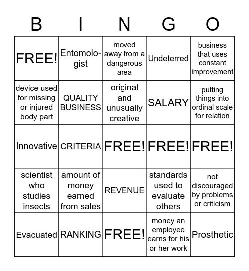 Logan's Vocabulary Bingo Card