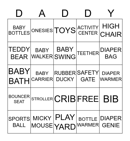 Michelle & Kimber's Baby Shower Bingo Card