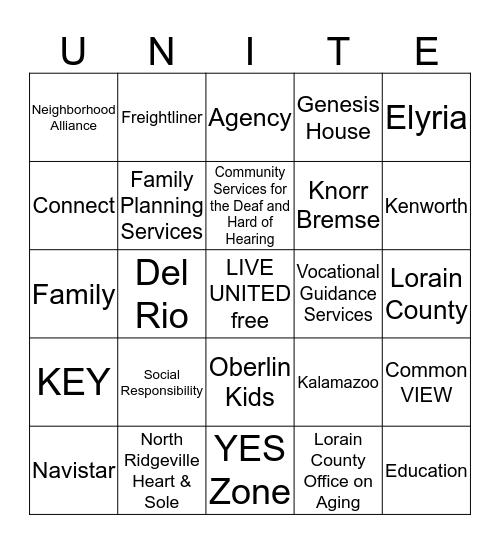 Bendix United Way Campaign Bingo Card
