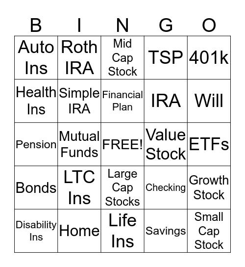 PROSPERITY  Bingo Card