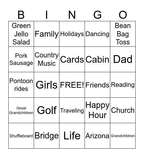 Gma's 80th birthday bingo Card