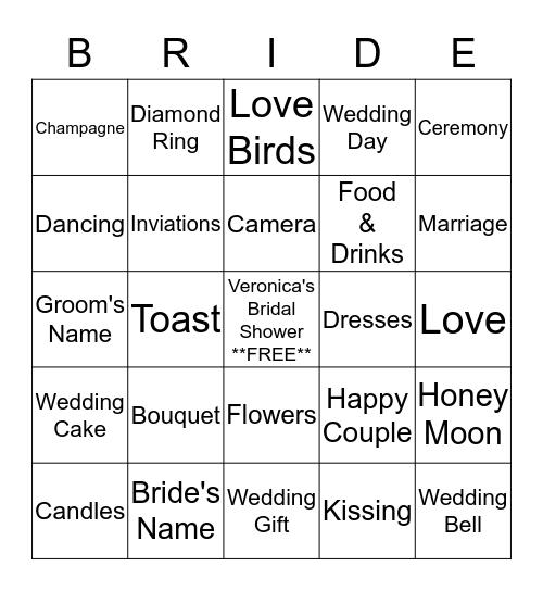 Veronica's Bridal Shower Bingo Card
