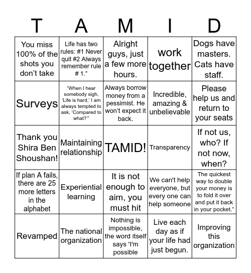 TAMID Group National Conference 2015 Bingo Card