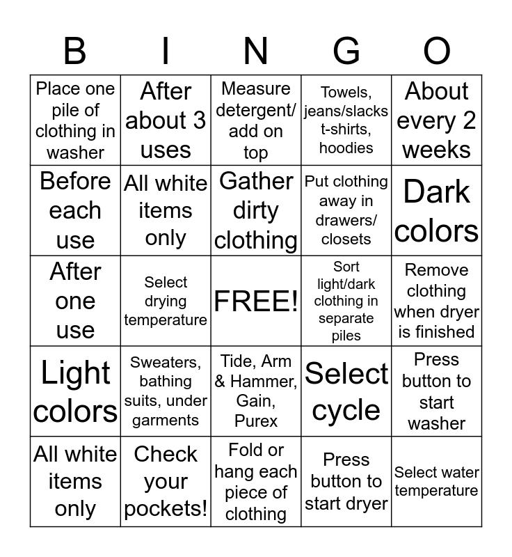 Laundry Bingo  Bingo Card