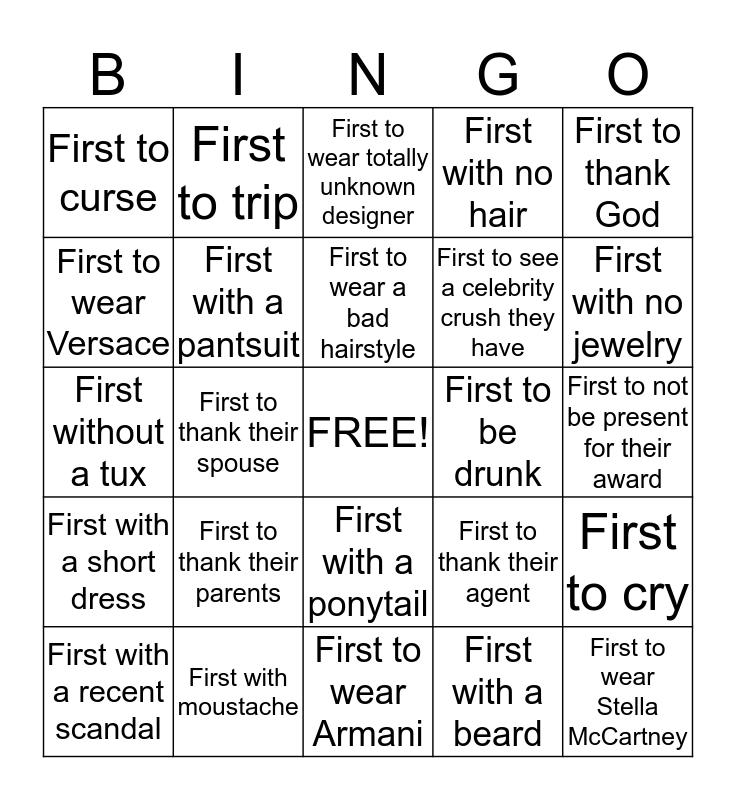 Awards show bingo Card