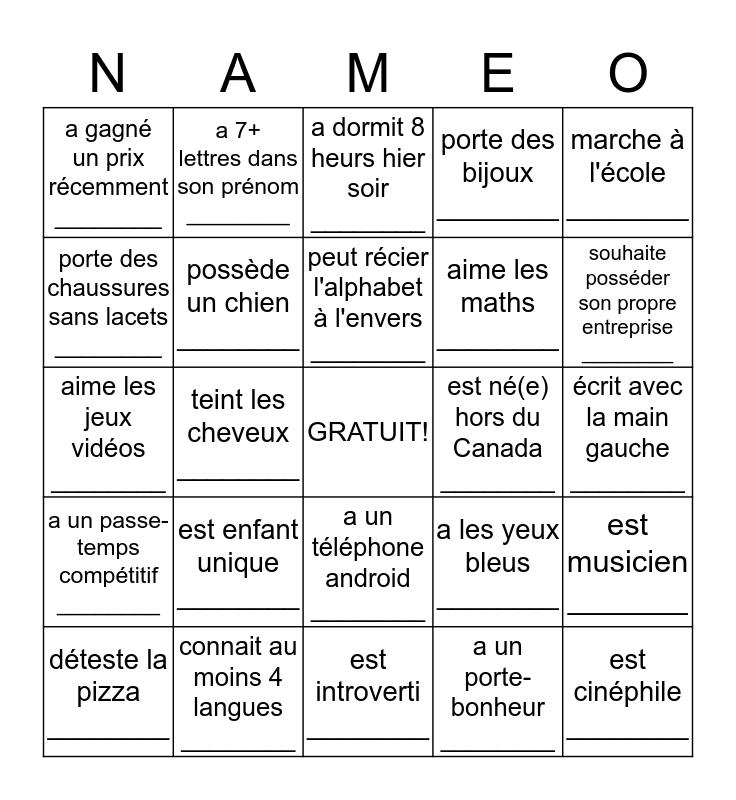 Trouver quelquun qui Bingo Card