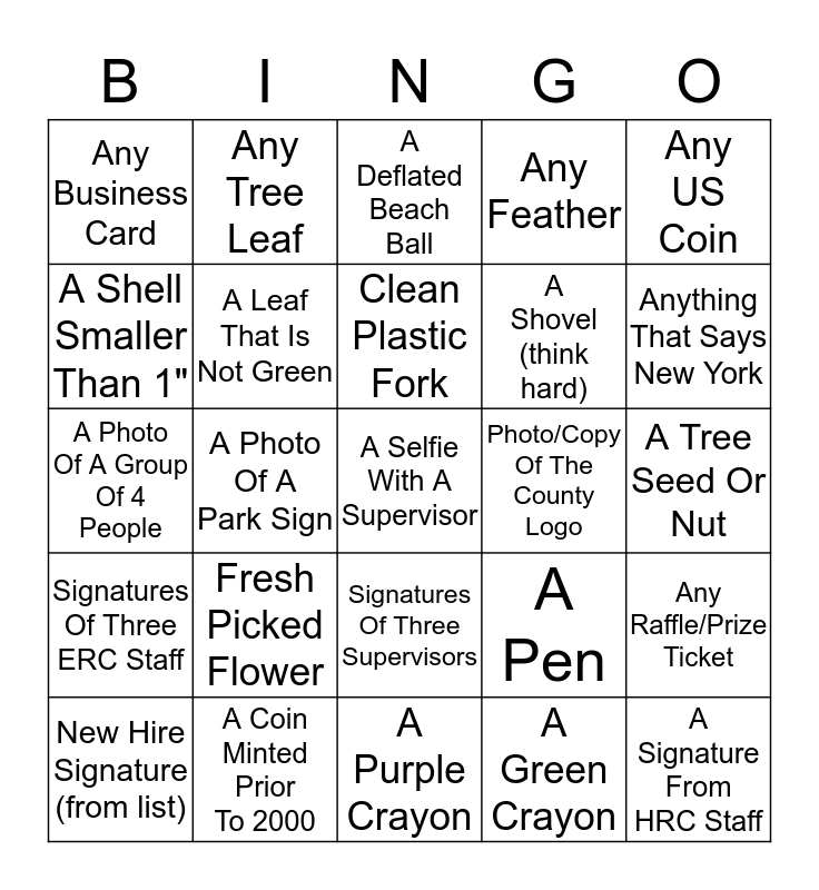DSS Employee Scavenger Hunt Bingo Card
