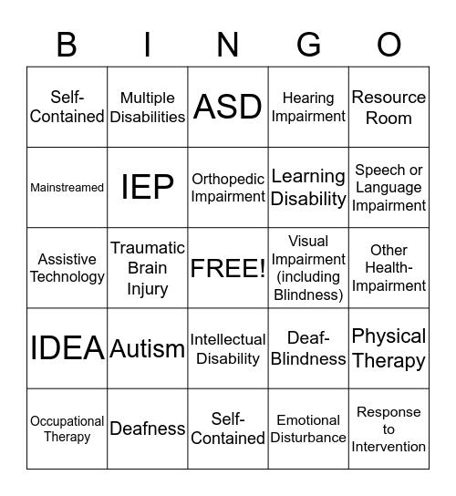 Special Education Bingo Card