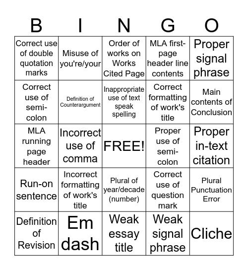 Grammar Bingo Card